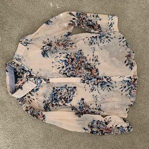 Floral Transparent Pattern Print Blouse